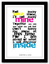 MUMFORD & SONS Roll Away Your Stone - lyric poster art typography print 4 sizes