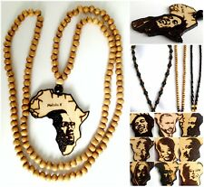 ETHNIC INSPIRED: HANDMADE AFRICA MAP WOOD BLACK CHAIN NECKLACE CHOOSE STYLE