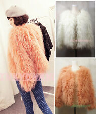 White Orange Furry Long Hair Up  Down Two Styles Faux Fur Coat Jacket
