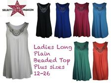 New Ladies Top Sleeveless Plain Beaded Diamante Womens Tunic Vest Top Plus Size