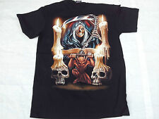 T-Shirt 100% Cotton high qual 2 sided Grim Reaper Death B+W Scary 2 glow in dark
