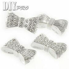 New Beads Metal 24x14mm Crystal Pave Rhinestones Bow knot Bracelet Connector