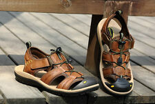 Retro fashion Mens Gladiator Strap leather Sandal casual brown Shoes size7-10.5