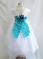 White apple sage teal jade kelly green flower girl dresses size 2 4 6 8 10 12 14