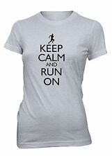 Junior's Keep Calm and Run On Funny T-Shirt Running Marathon Workout Tee