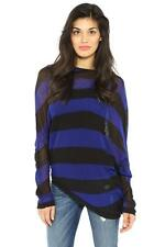 BCBG Max Azria Karlie Sweater Blue Black Combo Long Sleeve Boat Neck Striped Top