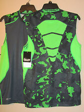 NWT$50 NIKE PRO COMBAT FITTED MESH SHIRT S/L HYPERCOOL 533391 GRID CAMO NAVY/GRN
