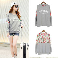 Casual Girl Floral Lace Crew neck T-shirt Long Sleeve Hoody Pullover Blouse Tops
