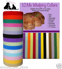 12 Colours Whelping Puppy Kitten I.D Collars Soft Velcro Adjustable Washable