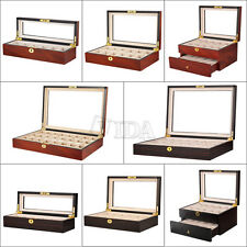 Wood Mens Watch Box Display Case Organizer Glass Top Jewelry Storage