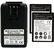 2 replacement battery and Wall Charger for Samsung Galaxy Note 2 II All models