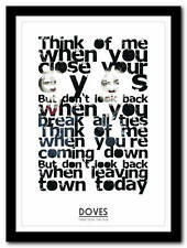 DOVES - There Goes The Fear - song lyric poster typography art print - 4 sizes