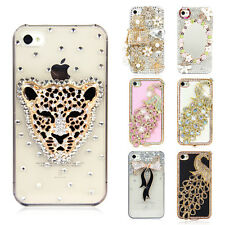 3D Luxury Bling Charm Crystal Diamond Bow Flower Hard Case Cover for iPhone 4 4S