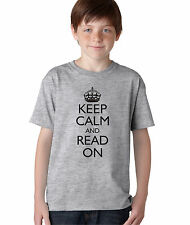 Kid's Keep Calm and Read On Funny T-Shirt Boy's Books Library School Tee