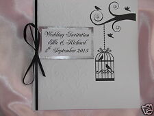 PERSONALISED BIRD CAGE DESIGN WEDDING INVITATIONS EMBOSSED *ANY COLOUR RIBBON*