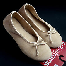 Dearfoams Women's Soft Velour Ballet Style Slippers Latte Size S M L XL Ret$24