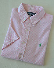 New Polo Ralph Lauren Pony Seersucker Short Sleeve Shirt Pink White M L