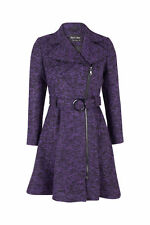 *AW13* Womens Ladies Wool Tweed Fit And Flare Zip Belted Coat (1311)
