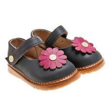 Girls Toddler Little Blue Lamb Grey + Pink Flower Leather Lined Squeaky Shoes