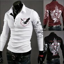 Long Korean Men's Casual Fitted Boy New Shirts Lapel T-shirt Tee Tops Eagle 2015