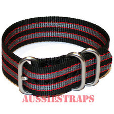 PREMIUM ZULU 3 Ring BLACK GREY RED BOND 007 Military Diver's watch strap band