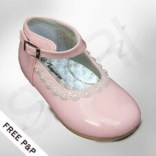 BABY GIRLS PINK FORMAL PATENT FLOWER GIRL SHOES DIAMANTE FLORAL BRIDESMAID SHOES