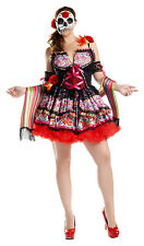 Day of the Dead Dia de los Muertos Costume Mexico Skull Mask Dress Womens Plus