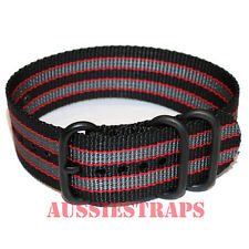 PREMIUM ZULU PVD 3 Ring BLACK GREY RED BOND Military Diver's watch strap band