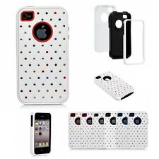 Apple iPhone 4 4S Luxurious Lattice Total Defense Bling Hybrid Dual Layer Case