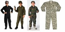 Kids Childrens US Army Military USMC USAF Flight Suit Coverall Halloween Costume
