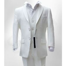 BOYS FORMAL 3PC IVORY SUIT COMMUNION WEDDING DINNER SUIT AGE 6 MTH TO 16 YRS