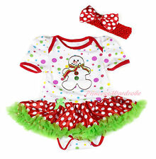 XMAS White Rainbow Dot Ginger Snowman Bodysuit Minnie Girl Baby Dress NB-18Month