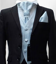 BOYS BLACK & BLUE FORMAL WEDDING CRAVAT SUIT PAGEBOY PROM SUIT AGE 1 TO 15 YRS