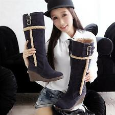 womens fashion wedge heel * fur lined double buckle strap knee high snow boots