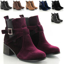 LADIES PULL ON CHELSEA GUSSET BIKER RIDING BLOCK HEEL WOMENS ANKLE BOOTS SIZE