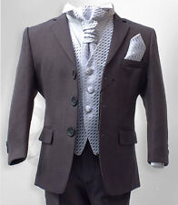 Boys Formal Wedding Cravat Suit in Grey & Lilac Pageboy Prom Age 6M to 15 Years