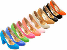 NEW BLOCK HEEL HIGH COURT SHOE PUMP VIBRANT COLOURS LADIES ROUND TOE WOMENS