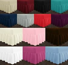 Extra Deep Plain Dyed Poly Cotton Fitted Valance Bed Sheets Single Double King