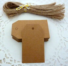 10/25/50 Brown Kraft Paper Gift Tags Price Tag with Strings Labels 4 x 7cm