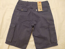 NWT MENS LEVIS TWILL CARGO SHORTS $50 WASHED BLUE 12463-0023