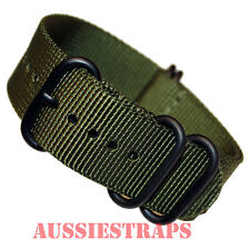 PREMIUM ZULU® PVD 5 Ring KHAKI 20mm,22mm,24mm Military Diver's watch strap band