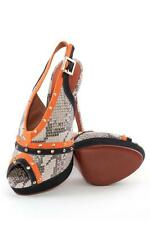 Schutz Elana High Heel Mari Tan Sandal Python Brown Black Platform Slingback NEW