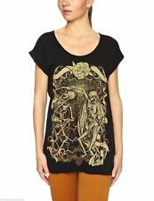 LADIES IRON FIST DANCE TO DEATH SKELETON TEE T SHIRT - HALLOWEEN