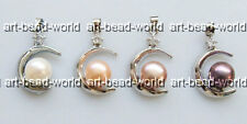 variations color 8-9mm freshwater pearl moon shape white gold plated pendant