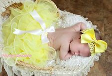 XMAS EASTER Girl Baby Yellow Petal Pettiskirt White Bow Skirt Dance Tutu NB-8Y