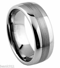 8mm Mens Tungsten Carbide Wedding Band Ring Brushed Finish Comfort fit Classic