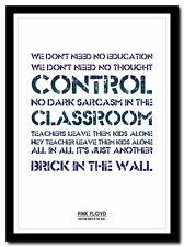 PINK FLOYD - Another Brick In The Wall - poster ❤ typography art print - 4 sizes