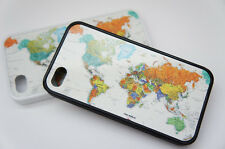 iPhone 4 4s 5 5s Case - World Map - Plastic Rubber White Black  - Countries