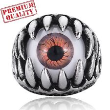 Vintage Mens Ring Titanium Steel Stainless Steel Horrible Eye Ball Ring