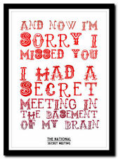 THE NATIONAL - Secret Meeting ❤ song lyric poster typography art print - 4 sizes